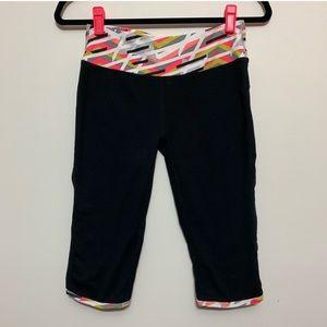 Fabletics Black Crop Leggings w/ Multi Color Waist